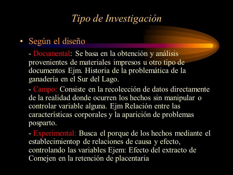 Tipo de Investigación Según el diseño - Documental: Se basa en la obtención y análisis provenientes de materiales impresos u otro tipo de documentos E