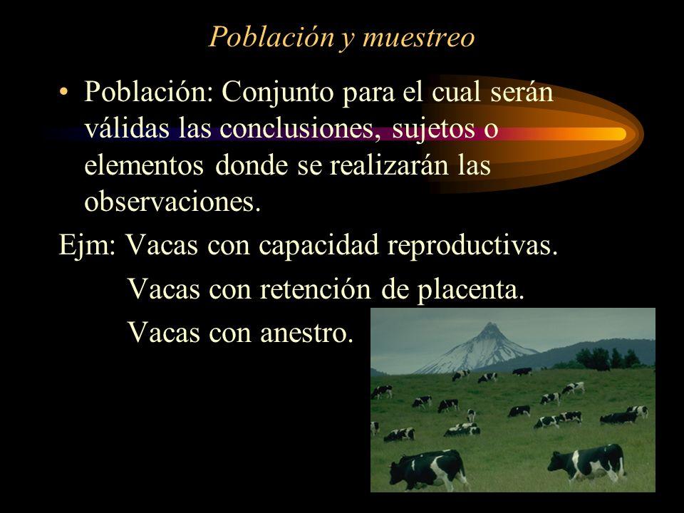 Población y muestreo Población: Conjunto para el cual serán válidas las conclusiones, sujetos o elementos donde se realizarán las observaciones. Ejm:
