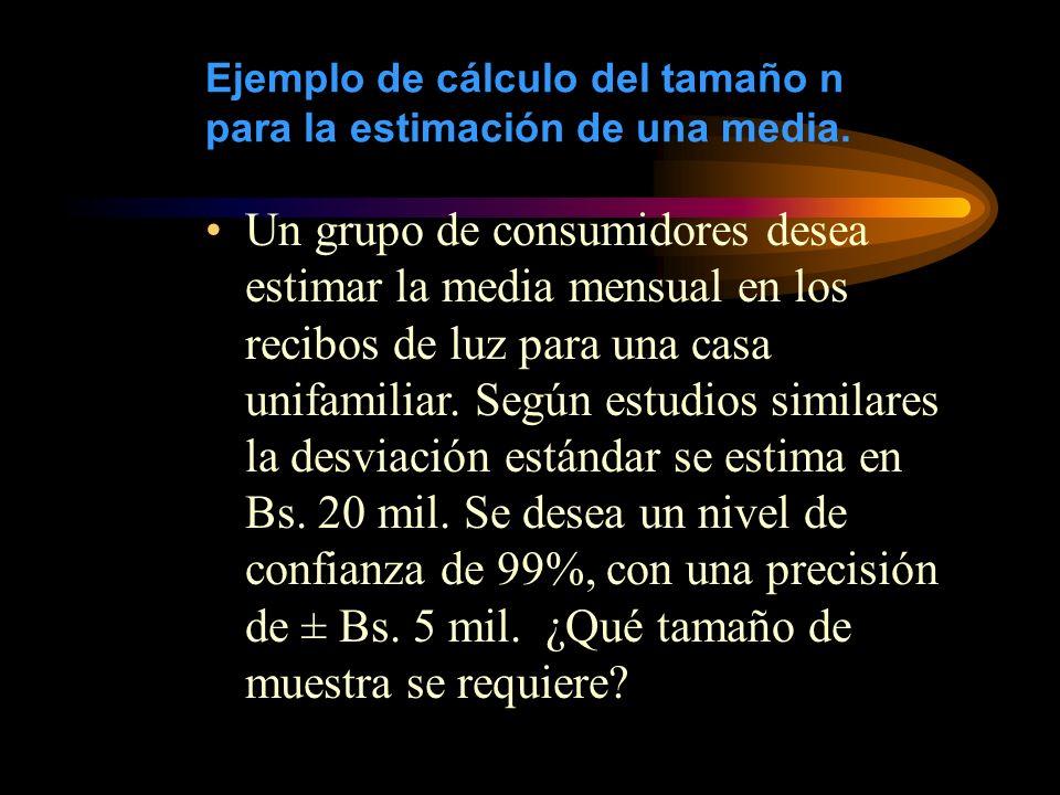Ejemplo de cálculo del tamaño n para la estimación de una media. Un grupo de consumidores desea estimar la media mensual en los recibos de luz para un