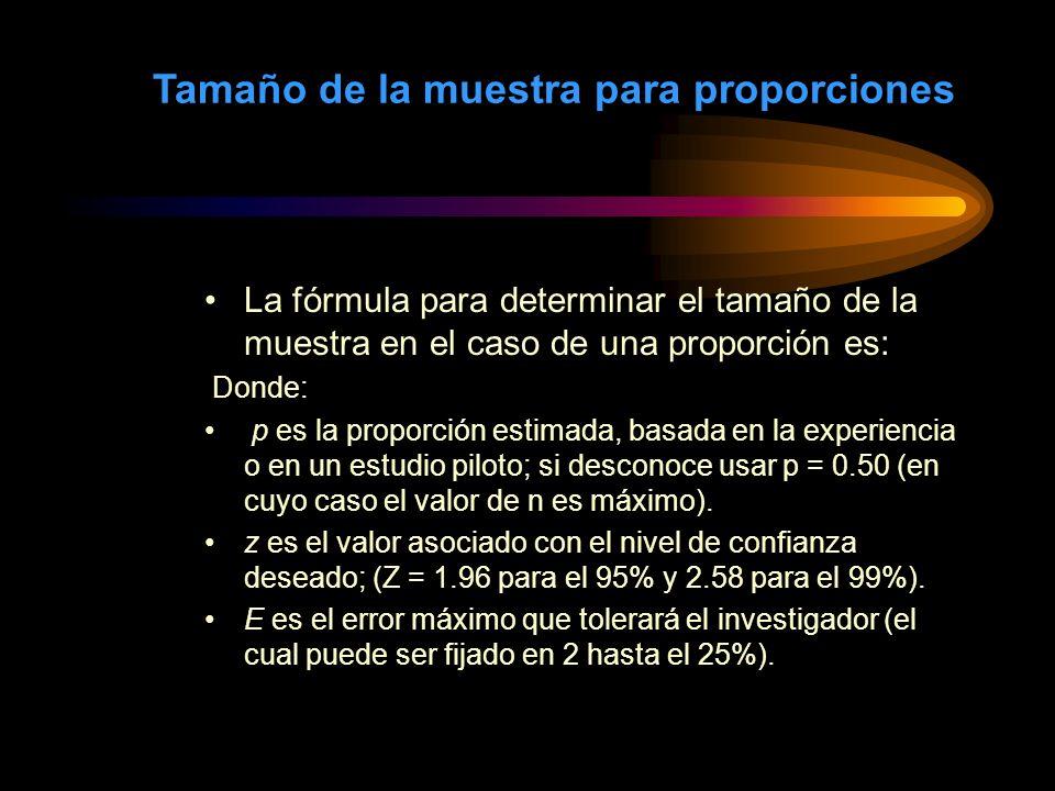 Tamaño de la muestra para proporciones La fórmula para determinar el tamaño de la muestra en el caso de una proporción es: Donde: p es la proporción e