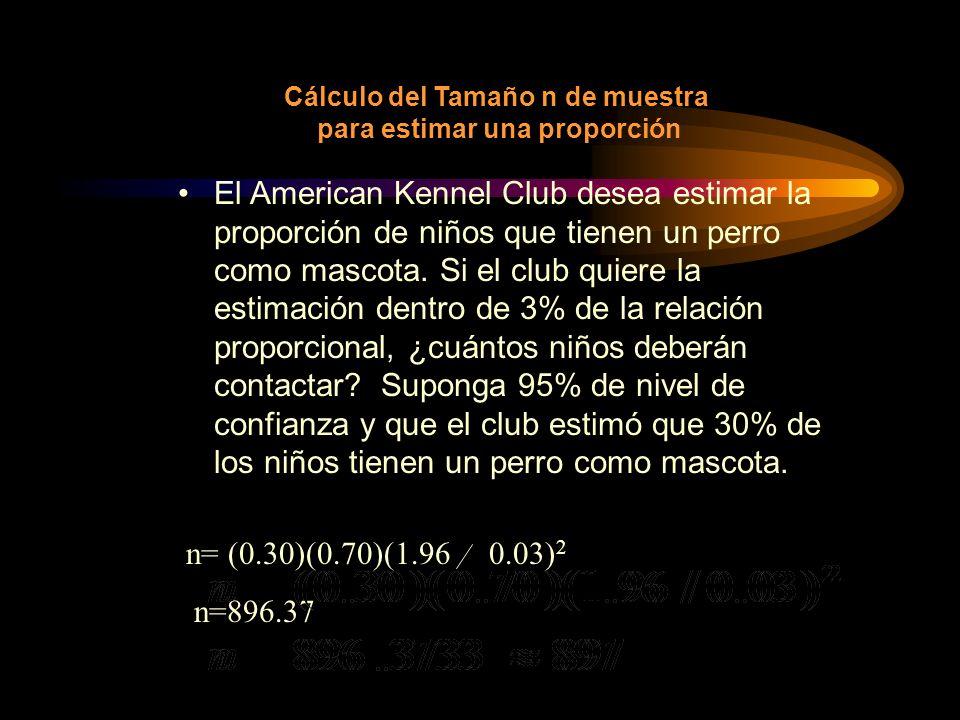 n= (0.30)(0.70)(1.96 0.03) 2 n=896.37 Cálculo del Tamaño n de muestra para estimar una proporción El American Kennel Club desea estimar la proporción
