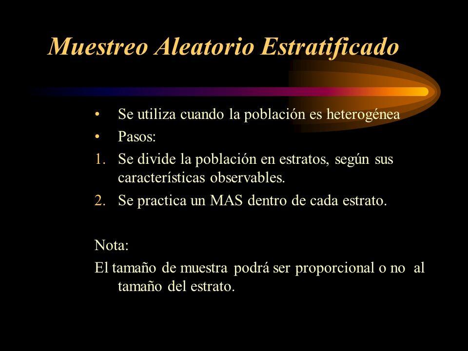 Muestreo Aleatorio Estratificado Se utiliza cuando la población es heterogénea Pasos: 1.Se divide la población en estratos, según sus características