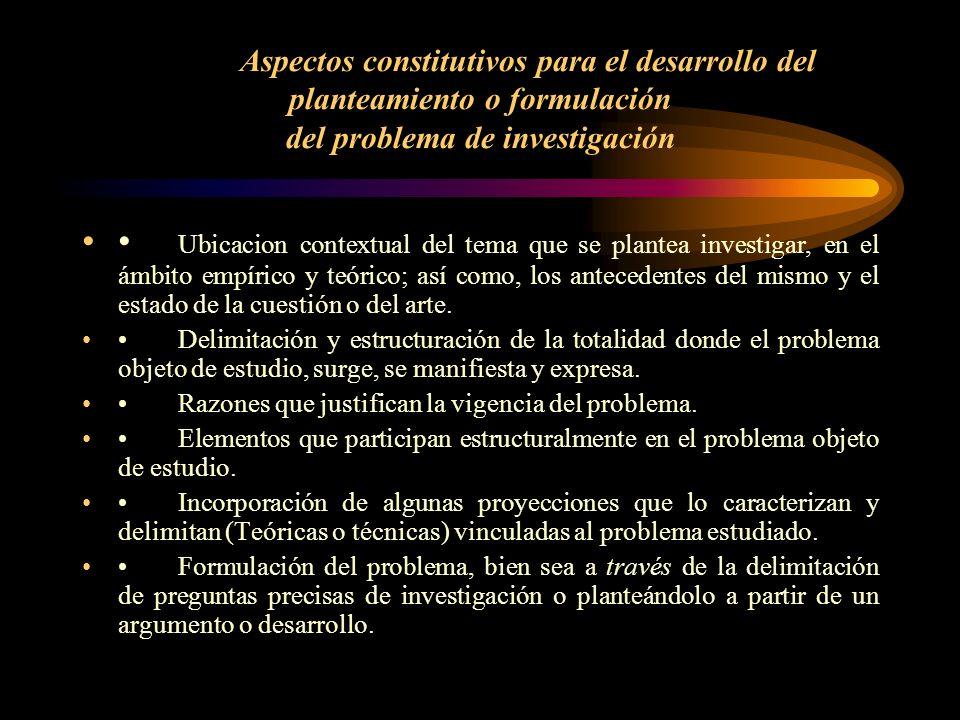 Aspectos constitutivos para el desarrollo del planteamiento o formulación del problema de investigación Ubicacion contextual del tema que se plantea i