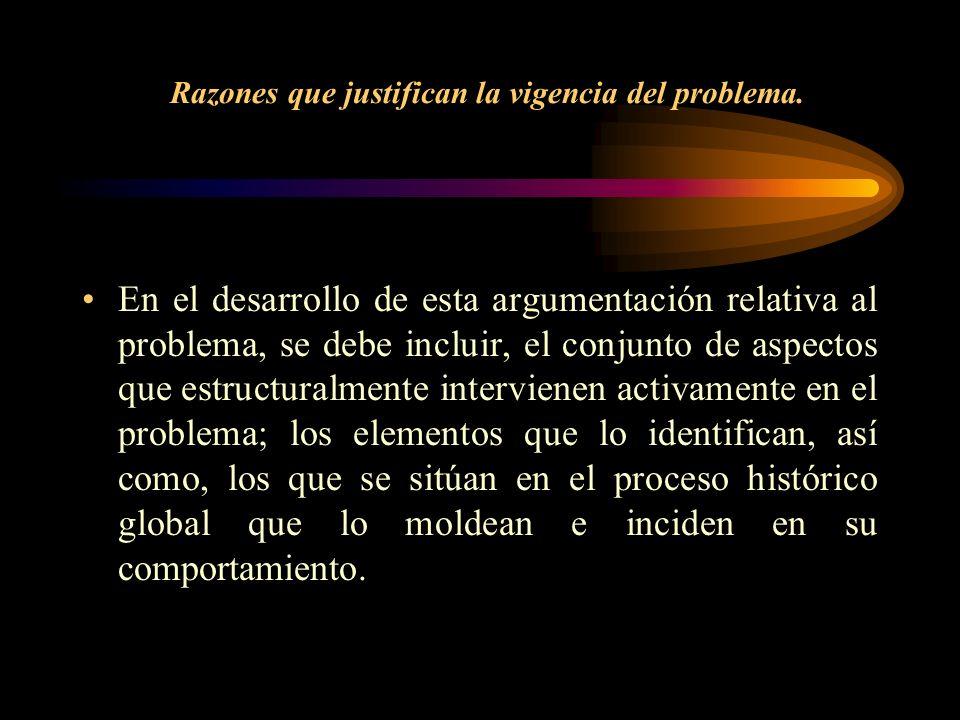 Razones que justifican la vigencia del problema. En el desarrollo de esta argumentación relativa al problema, se debe incluir, el conjunto de aspectos