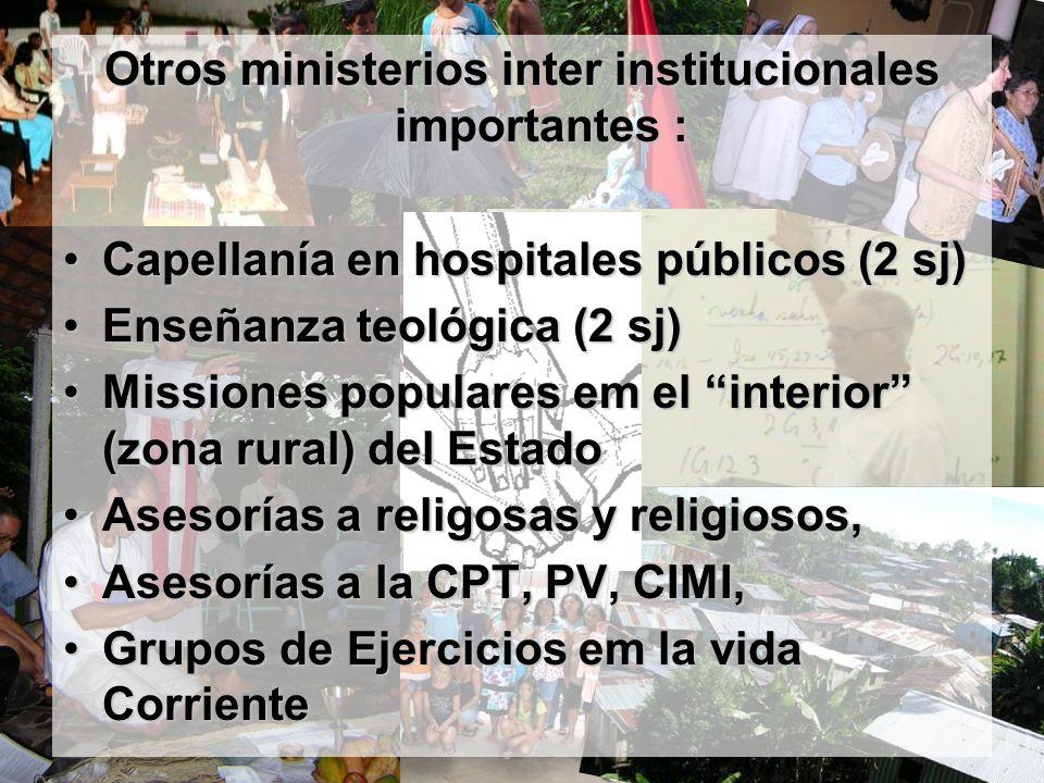 Otros ministerios inter institucionales importantes : Capellanía en hospitales públicos (2 sj)Capellanía en hospitales públicos (2 sj) Enseñanza teoló