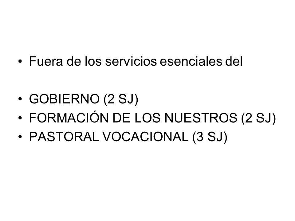 Fuera de los servicios esenciales del GOBIERNO (2 SJ) FORMACIÓN DE LOS NUESTROS (2 SJ) PASTORAL VOCACIONAL (3 SJ)