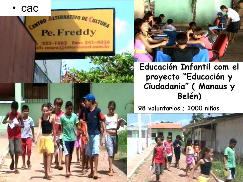 Educación Infantil com el proyecto Educación y Ciudadania ( Manaus y Belén) 98 voluntarios ; 1000 niños cac