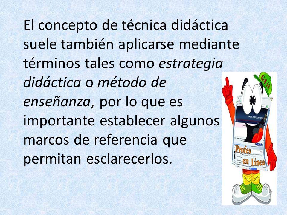 El concepto de técnica didáctica suele también aplicarse mediante términos tales como estrategia didáctica o método de enseñanza, por lo que es import