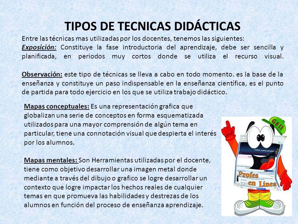 TIPOS DE TECNICAS DIDÁCTICAS Entre las técnicas mas utilizadas por los docentes, tenemos las siguientes: Exposición: Constituye la fase introductoria