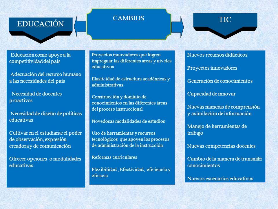 Educación como apoyo a la competitividad del país Adecuación del recurso humano a las necesidades del país Necesidad de docentes proactivos Necesidad