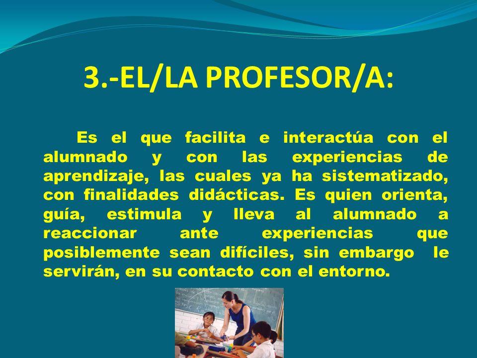 3.-EL/LA PROFESOR/A: Es el que facilita e interactúa con el alumnado y con las experiencias de aprendizaje, las cuales ya ha sistematizado, con finali