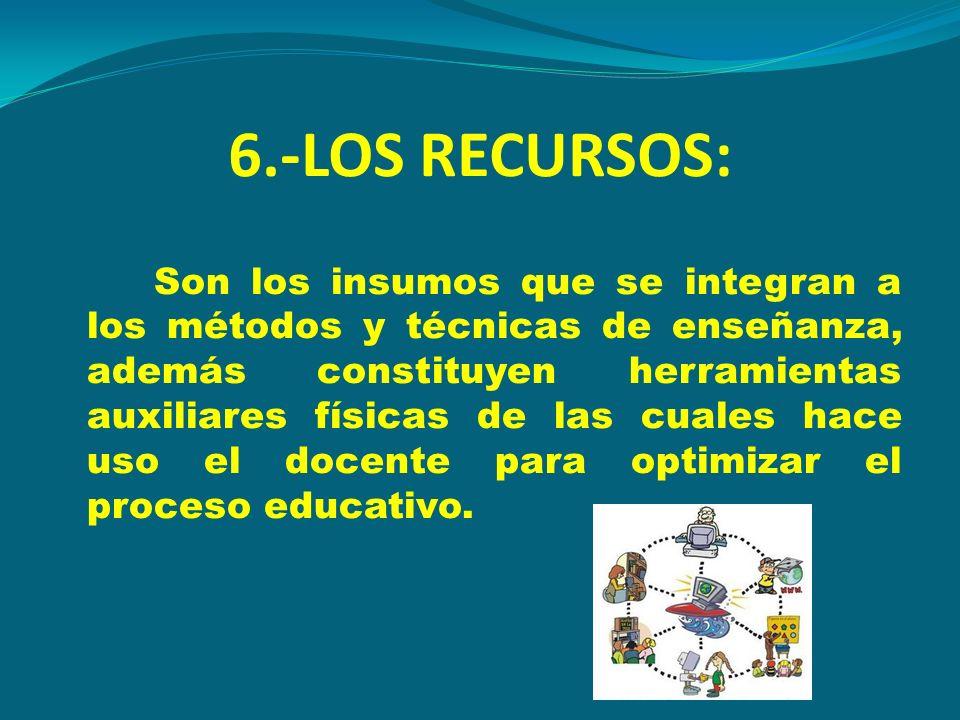 6.-LOS RECURSOS: Son los insumos que se integran a los métodos y técnicas de enseñanza, además constituyen herramientas auxiliares físicas de las cual