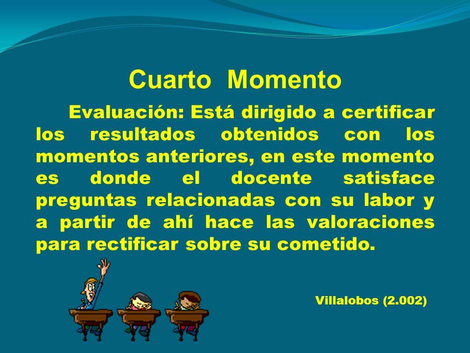 Cuarto Momento Evaluación: Está dirigido a certificar los resultados obtenidos con los momentos anteriores, en este momento es donde el docente satisf
