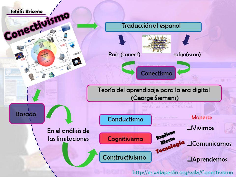 Jehilis Briceño Traducción al español Raíz (conect) Teoría del aprendizaje para la era digital (George Siemens) En el análisis de las limitaciones Con