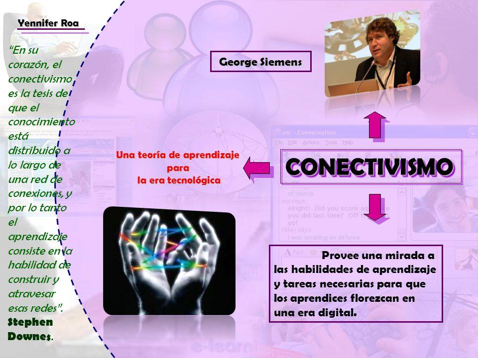 CONECTIVISMOCONECTIVISMO Una teoría de aprendizaje para la era tecnológica la era tecnológica Provee una mirada a las habilidades de aprendizaje y tar