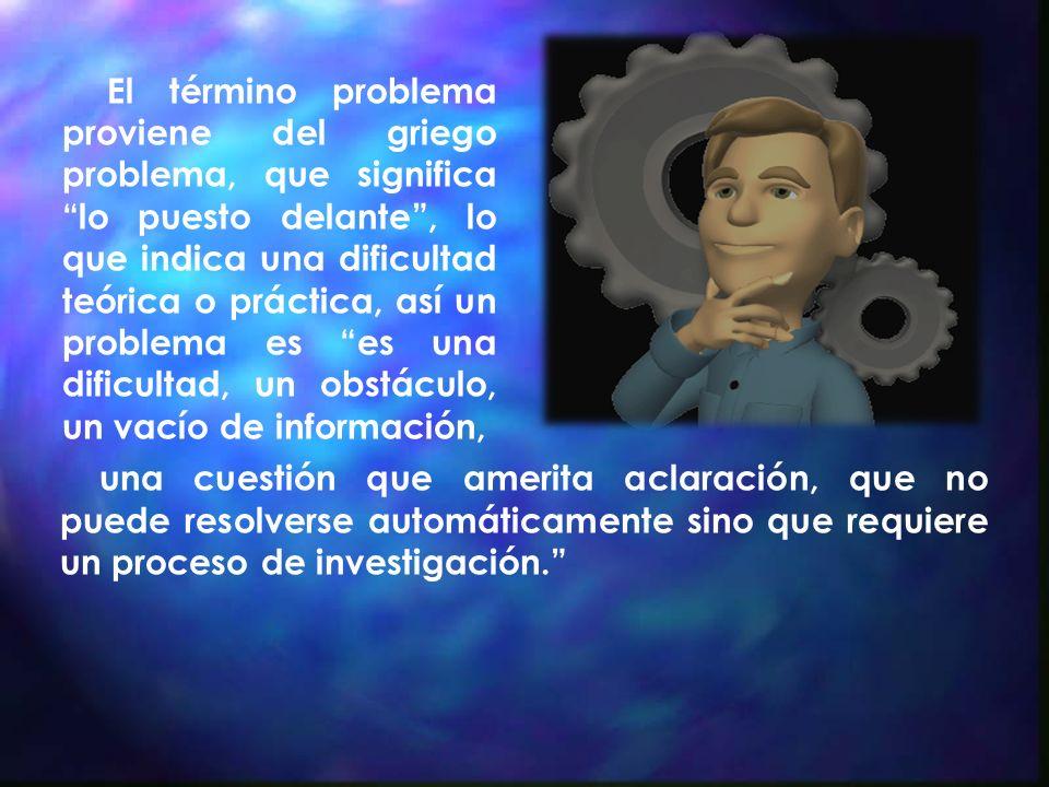 Planteamiento de una pregunta que define exactamente cual es el problema que el investigador debe de resolver mediante el conocimiento sistemático a partir de la observación, descripción y explicación.