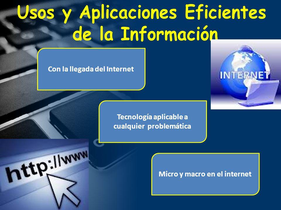 Con la llegada del Internet Tecnología aplicable a cualquier problemática Micro y macro en el internet