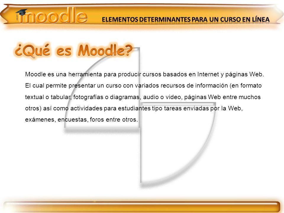 Moodle es una herramienta para producir cursos basados en Internet y páginas Web. El cual permite presentar un curso con variados recursos de informac