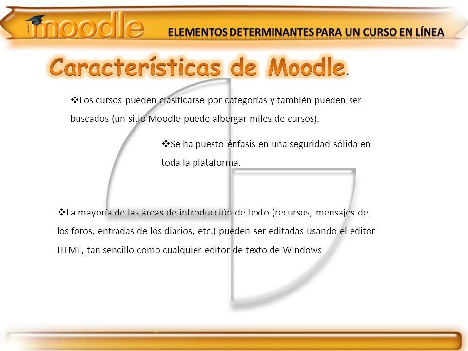 Los cursos pueden clasificarse por categorías y también pueden ser buscados (un sitio Moodle puede albergar miles de cursos). Se ha puesto énfasis en