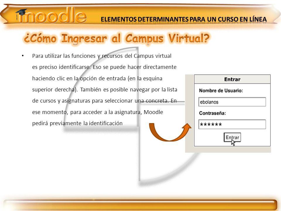 Para utilizar las funciones y recursos del Campus virtual es preciso identificarse. Eso se puede hacer directamente haciendo clic en la opción de entr