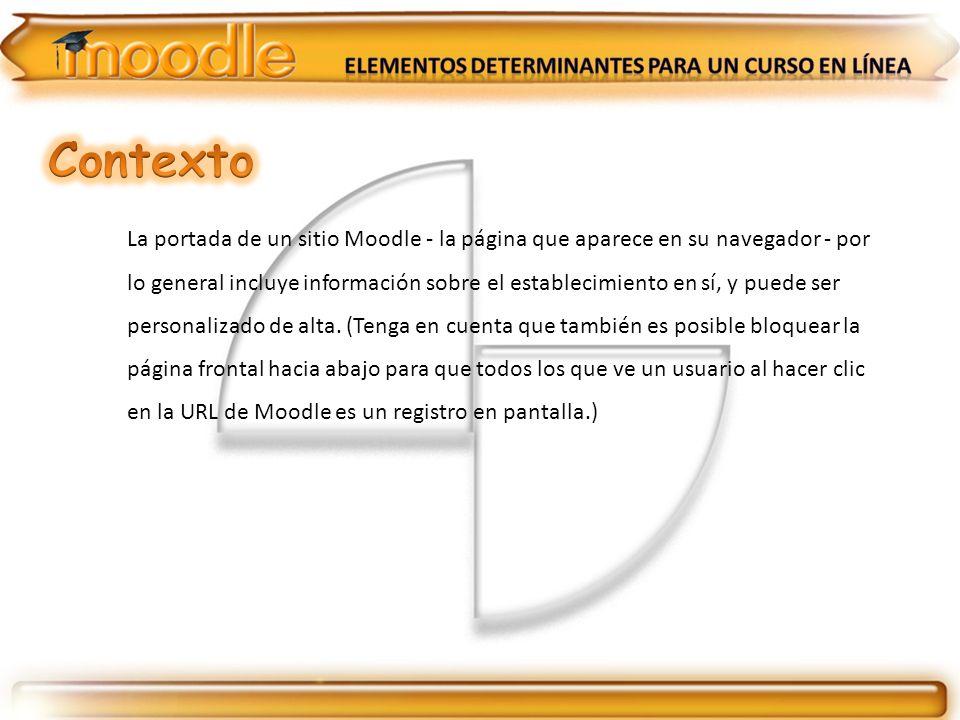 La portada de un sitio Moodle - la página que aparece en su navegador - por lo general incluye información sobre el establecimiento en sí, y puede ser personalizado de alta.