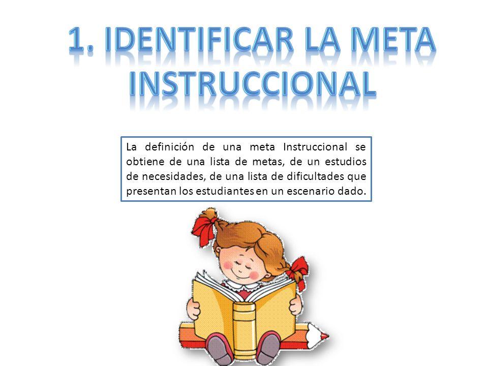 La definición de una meta Instruccional se obtiene de una lista de metas, de un estudios de necesidades, de una lista de dificultades que presentan lo