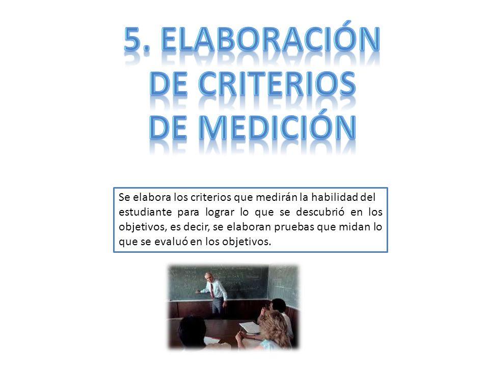 Se elabora los criterios que medirán la habilidad del estudiante para lograr lo que se descubrió en los objetivos, es decir, se elaboran pruebas que m