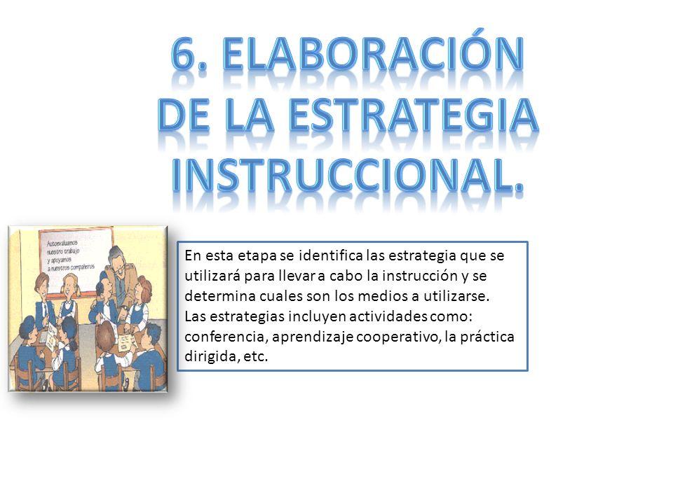 En esta etapa se identifica las estrategia que se utilizará para llevar a cabo la instrucción y se determina cuales son los medios a utilizarse. Las e