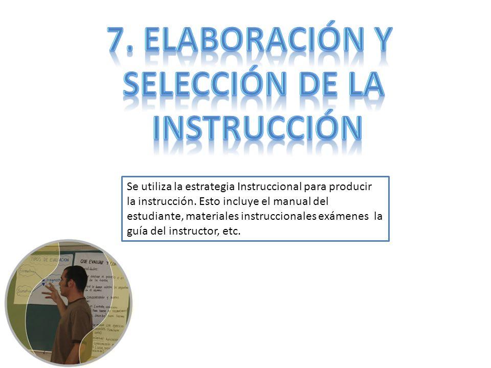 Se utiliza la estrategia Instruccional para producir la instrucción. Esto incluye el manual del estudiante, materiales instruccionales exámenes la guí