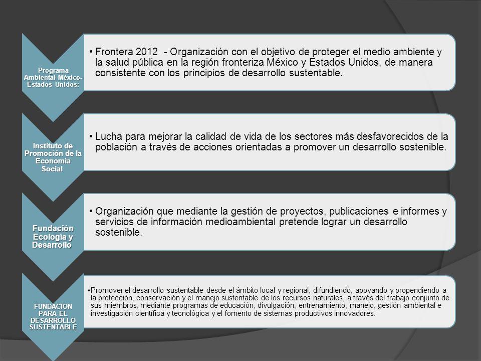 Programa Ambiental México- Estados Unidos: Frontera 2012 - Organización con el objetivo de proteger el medio ambiente y la salud pública en la región fronteriza México y Estados Unidos, de manera consistente con los principios de desarrollo sustentable.