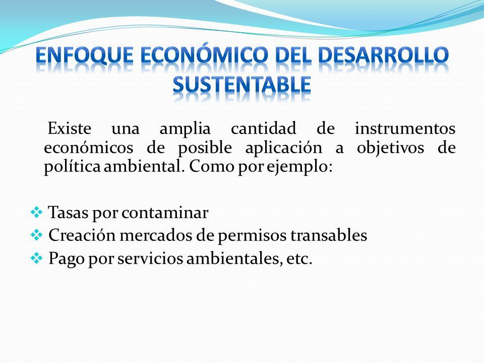 Existe una amplia cantidad de instrumentos económicos de posible aplicación a objetivos de política ambiental. Como por ejemplo: Tasas por contaminar