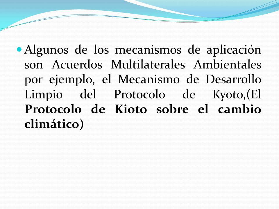 Algunos de los mecanismos de aplicación son Acuerdos Multilaterales Ambientales por ejemplo, el Mecanismo de Desarrollo Limpio del Protocolo de Kyoto,