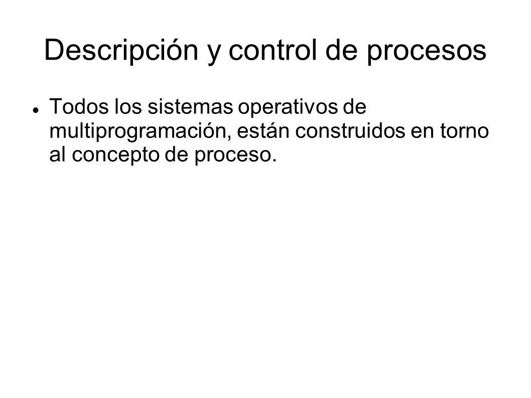 Descripción y control de procesos Todos los sistemas operativos de multiprogramación, están construidos en torno al concepto de proceso.