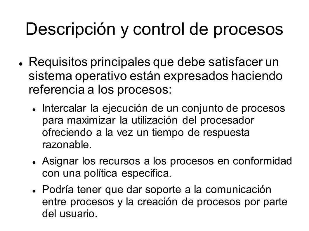 Descripción y control de procesos Requisitos principales que debe satisfacer un sistema operativo están expresados haciendo referencia a los procesos: