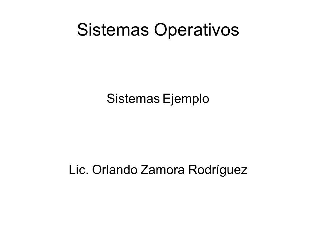 Sistemas Operativos Sistemas Ejemplo Lic. Orlando Zamora Rodríguez
