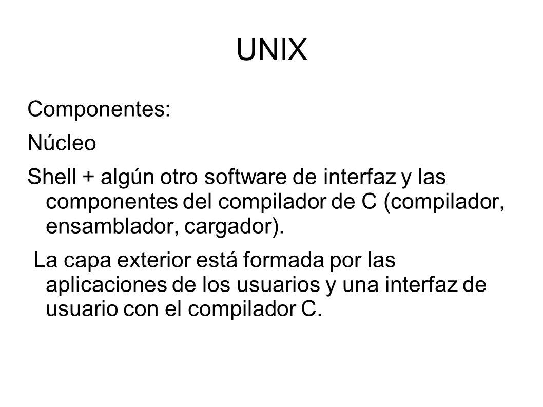 UNIX Componentes: Núcleo Shell + algún otro software de interfaz y las componentes del compilador de C (compilador, ensamblador, cargador). La capa ex
