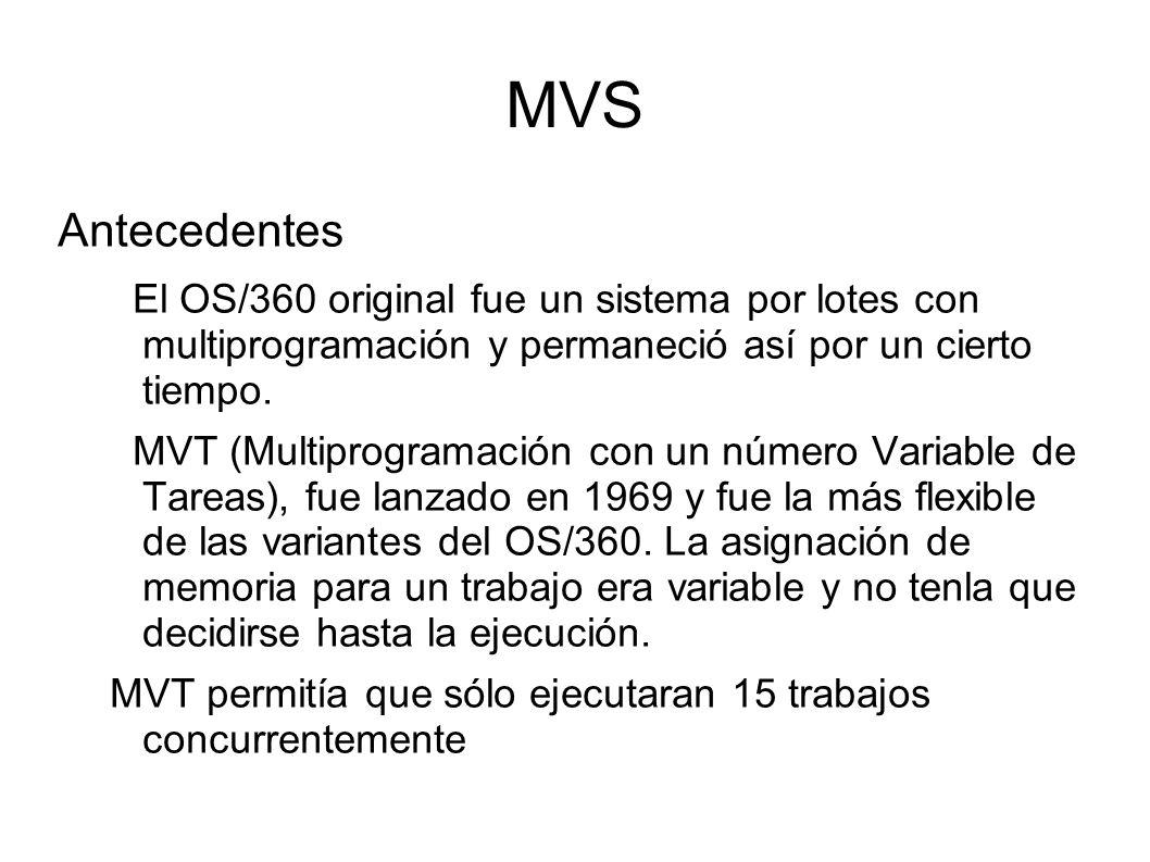 MVS Antecedentes El OS/360 original fue un sistema por lotes con multiprogramación y permaneció así por un cierto tiempo. MVT (Multiprogramación con u