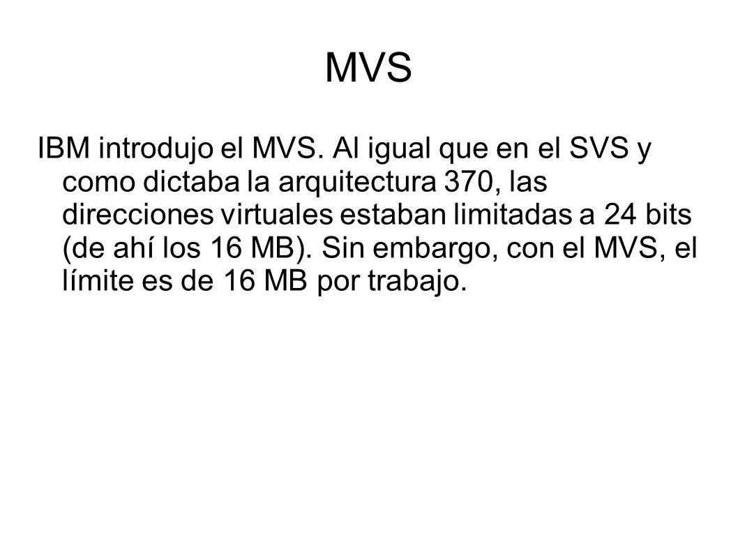 MVS IBM introdujo el MVS. Al igual que en el SVS y como dictaba la arquitectura 370, las direcciones virtuales estaban limitadas a 24 bits (de ahí los