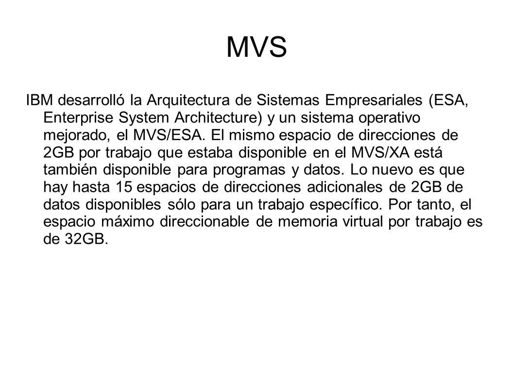MVS IBM desarrolló la Arquitectura de Sistemas Empresariales (ESA, Enterprise System Architecture) y un sistema operativo mejorado, el MVS/ESA. El mis