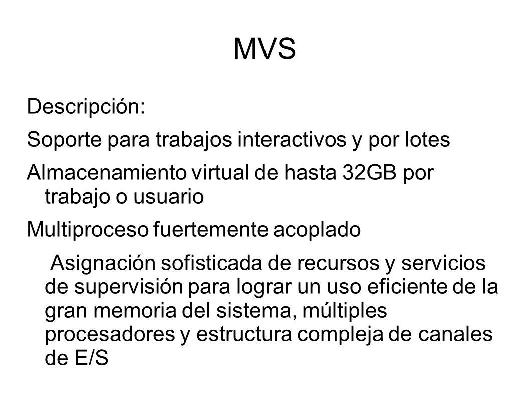 MVS Descripción: Soporte para trabajos interactivos y por lotes Almacenamiento virtual de hasta 32GB por trabajo o usuario Multiproceso fuertemente ac