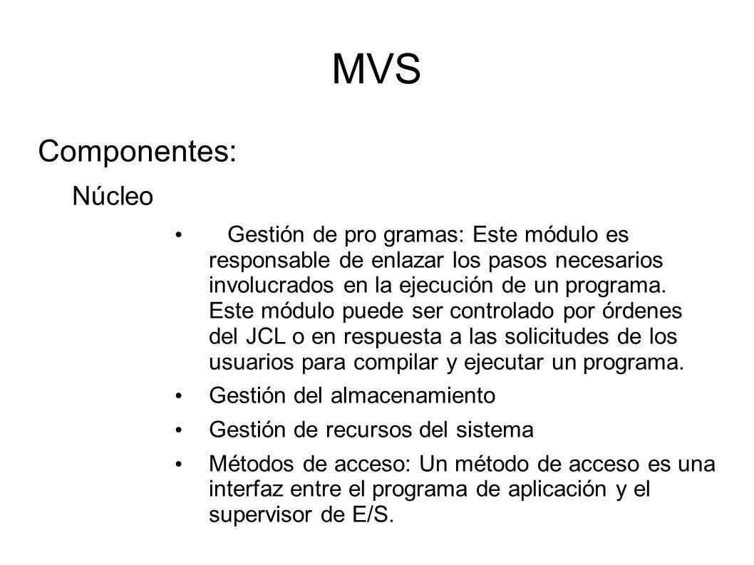 MVS Componentes: Núcleo Gestión de pro gramas: Este módulo es responsable de enlazar los pasos necesarios involucrados en la ejecución de un programa.