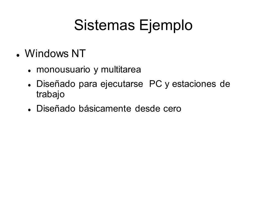 Sistemas Ejemplo Windows NT monousuario y multitarea Diseñado para ejecutarse PC y estaciones de trabajo Diseñado básicamente desde cero