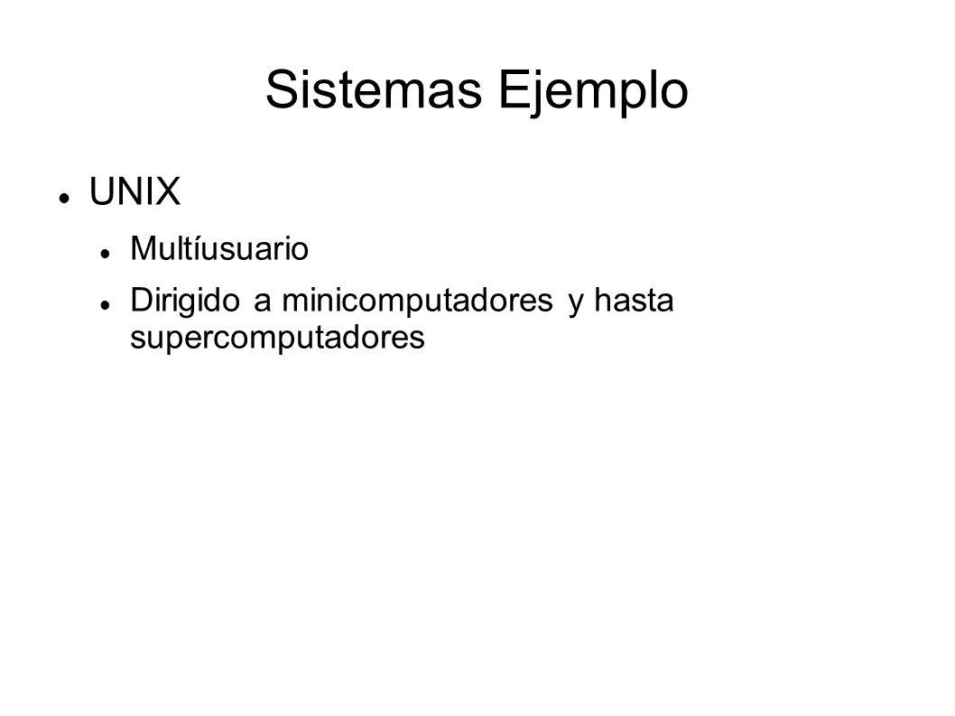 Sistemas Ejemplo UNIX Multíusuario Dirigido a minicomputadores y hasta supercomputadores