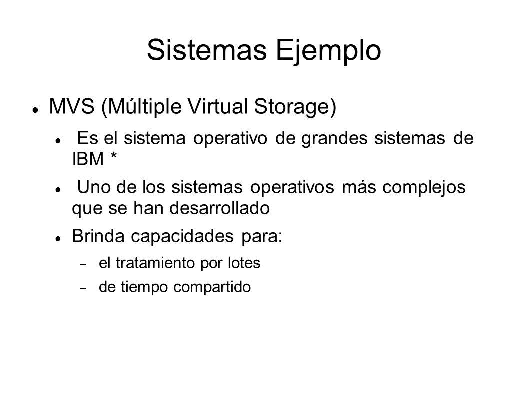 Sistemas Ejemplo MVS (Múltiple Virtual Storage) Es el sistema operativo de grandes sistemas de IBM * Uno de los sistemas operativos más complejos que