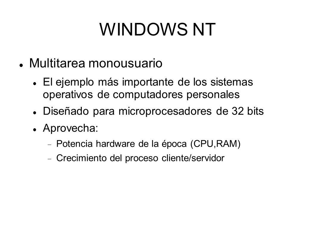 WINDOWS NT Multitarea monousuario El ejemplo más importante de los sistemas operativos de computadores personales Diseñado para microprocesadores de 3