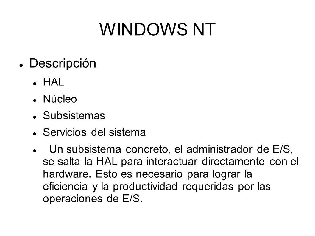 WINDOWS NT Descripción HAL Núcleo Subsistemas Servicios del sistema Un subsistema concreto, el administrador de E/S, se salta la HAL para interactuar