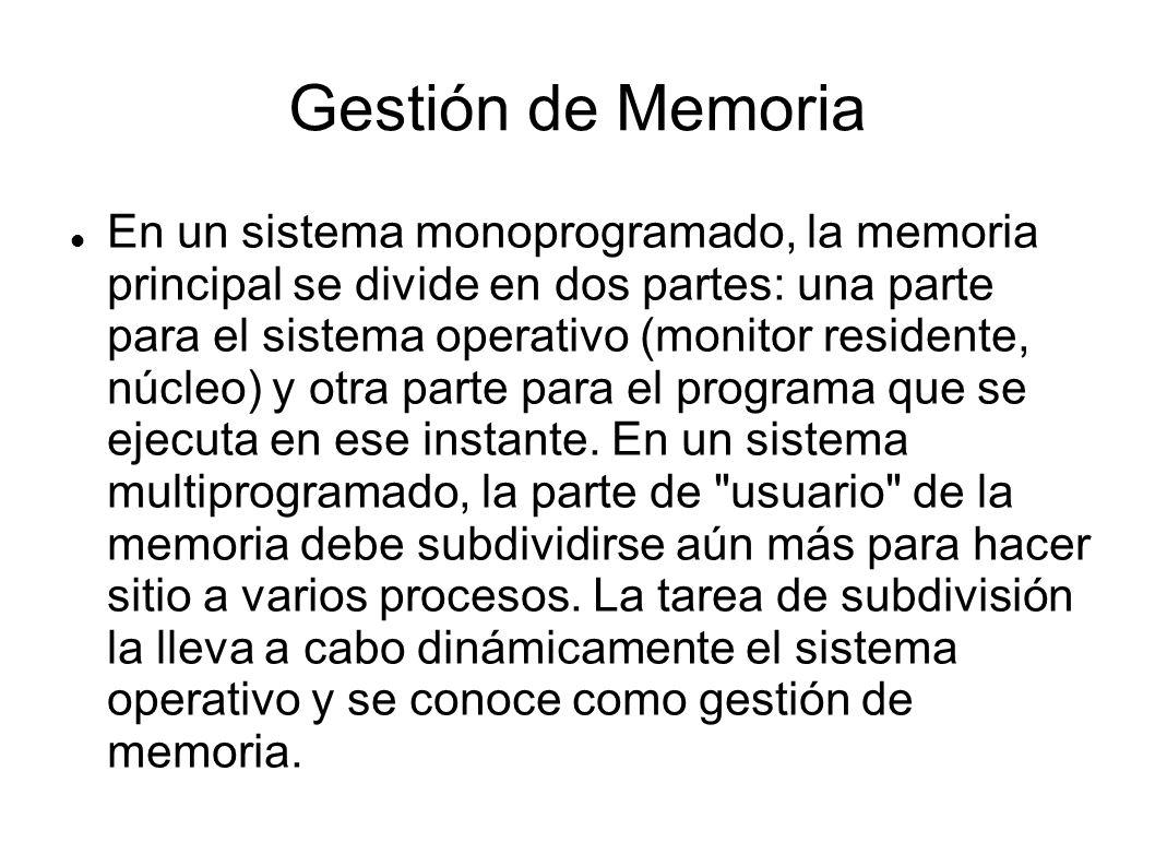 En un sistema monoprogramado, la memoria principal se divide en dos partes: una parte para el sistema operativo (monitor residente, núcleo) y otra par