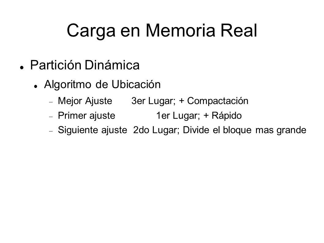 Carga en Memoria Real Partición Dinámica Algoritmo de Ubicación Mejor Ajuste 3er Lugar; + Compactación Primer ajuste1er Lugar; + Rápido Siguiente ajus
