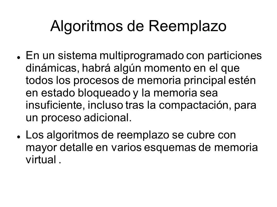 Algoritmos de Reemplazo En un sistema multiprogramado con particiones dinámicas, habrá algún momento en el que todos los procesos de memoria principal