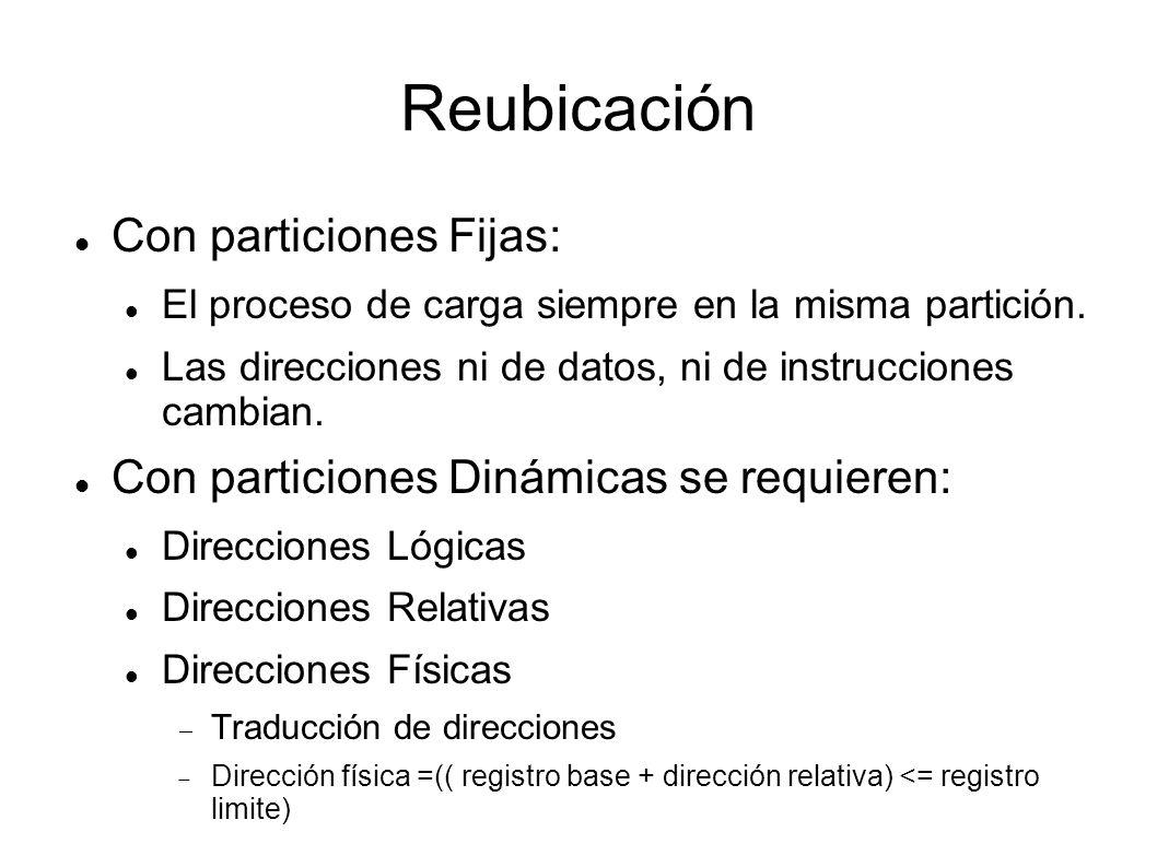 Reubicación Con particiones Fijas: El proceso de carga siempre en la misma partición. Las direcciones ni de datos, ni de instrucciones cambian. Con pa